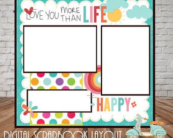 Love you Premade Digital Scrapbook Page, Quick Page, Premade, Scrapbook Pages, 12x12, Instant Download, Photo Page