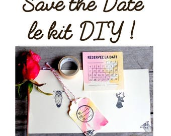 10 Save the date, DIY kit, part DIY, kit do it yourself, save the date watercolor, save the date watercolor, DIY save the date
