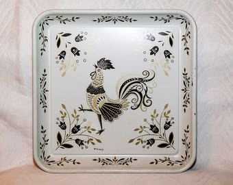 """Vintage Mid-Century Metal Serving Tray -  13"""" Square -  Rooster - Signed by Maxey"""