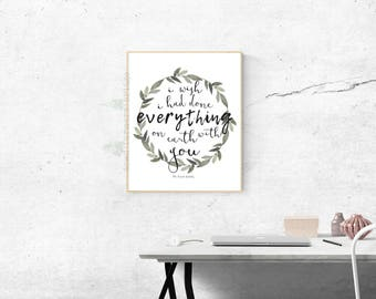 The Great Gatsby Digital Print, Gatsby and Daisy Print, I Wish I Had Done Everything on Earth With You, Digital File, Printable, Typography