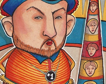 ACEO Print - Henry VIII with wives, lowbrow art, Tower of Love, Tudor royals