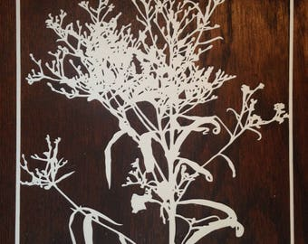 Flowers 25:  Ironweed -- Hand-Cut Paper Silhouette of Ironweed