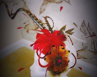Fascinator, Feather Fascinator, Red Fascinator, Feather Headware, Wedding Accessories, Wedding Hats, Red Reeves Feather Fascinator, Weddings
