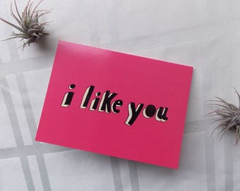 Greeting Card Cute I Like You Type Typography Hand Lettering 5x4.5