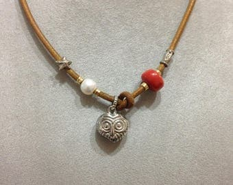 Necklace or bracelet OWL in silver925, gold 750e pietr (White Pearl and ONIX/White Pearl and turquoise/White Pearl and carnelian)