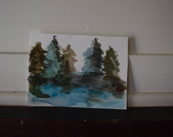 Hand Painted Forest Card