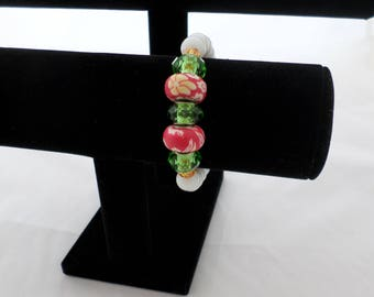 Bracelet 'Floral Fun' Red and Green