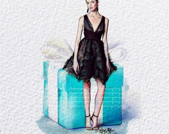 Tiffany Fashion Print (Marchesa Fashion Illustration)