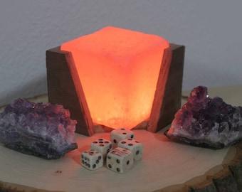 Handmade Walnut Himalayan Pink Salt Lamp
