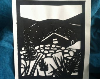 Papercut Greeting Card--Stone Cottage