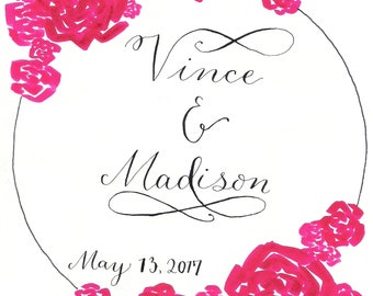 Hand Lettered Customizable Floral Wreath (Brush Pen)