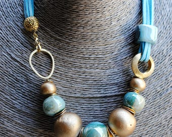 Blue and gold necklace with ceramic beads, handmade