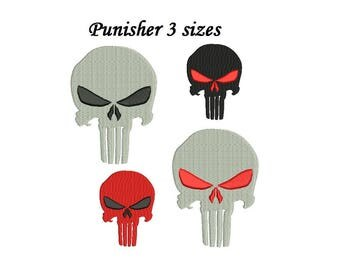The Punisher Embroidery Design - 3 design sizes - machine embroidery INSTANT DOWNLOAD