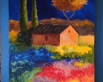 Bright oil painting night flowers