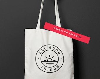 All Good Things - Logo Tote Bag - 100% Cotton - 5oz - Natural - Screen printed - Limited Run