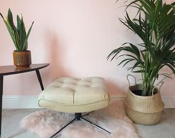Vintage mid-century cream faux leather footstool