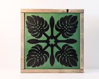 Monstera Wall Art - Hawaiian Quilt - Monstera Sign - Green and Black - Home Decor