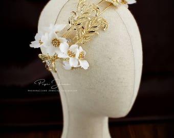 Rhinestone Bridal Tiara flower crown Princess Tiara Wedding Tiara Crystal Bridal headpiece Dramatic headpiece Gold Tiara wedding accessories