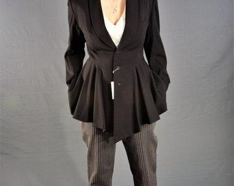 DEADSTOCK 1980's MATSUDA Jacket, Vintage 80s PEPLUM Style Black Wool Jacket,,size 6, Medium
