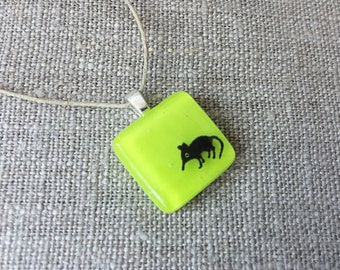 Elephant Shrew Pendant Glass Jewelry Necklace of Fused Glass by Happy Owl - lime green kangaroo rat cute kids jewelry