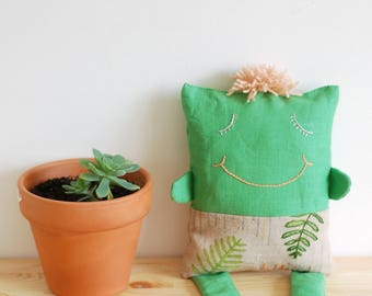 Pillow doll - baby soft doll - gender neutral baby doll - hand painted and embroidered ferns on green linen - Xarabaneco #12