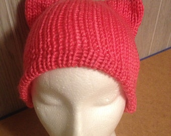 Hot Pink PussyHat Cat beanie Women's March PUSSY HAT Ski Cap Kitty Ears Size Sm,Med,Large -- Charity Donation and Free Shipping UsA