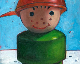 Fisher Price Little People Boy: Original Oil Painting