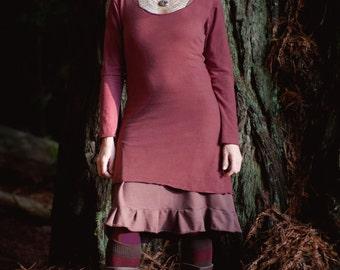 Hemp Long Sleeve - Eco friendly dress- Handmade and dyed to order using Organic cotton and Hemp jersey