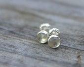 prasiolite (green amethyst) and sterling silver small stud earrings