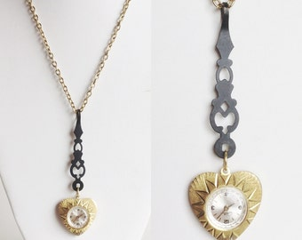 Gold Heart Watch Pendant Necklace with Ornate Black Clock Hand, Long Gold Chain, Repurposed Vintage Materials, Handmade and One of a Kind