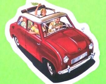 Fiat 600 Road Trip Family Car Sun Roof Fun Classic Vintage Series Automobile Vinyl Sticker