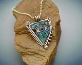 Sterling silver eye pendant necklace with blue green iridescent mosaic inlay polymer clay sterling bead ball chain blue evil eye