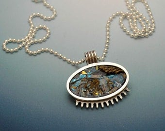 Sterling silver little medallion pendant necklace with blue green iridescent faux rock ice scape polymer clay