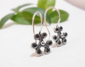 Sterling Silver Drop Earrings Dangle Earrings Tiny Flower Earrings Floral Earrings Clover Earrings Handmade Earrings