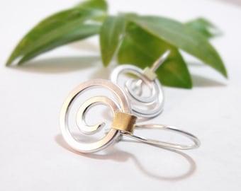 Earrings - Sterling Silver Open Spiral Earrings with Brass Accents