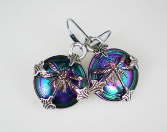 Dragonfly Earrings Teal Violet Czech Glass Buttons Antiqued Silver Dragonfly Jewelry
