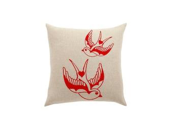 Tattoo inspired pillow Bird Pillows Home Decor Housewares with sparrows Fun Cushions Linen Animal Throw Pillows Accent Cute gifts under 25
