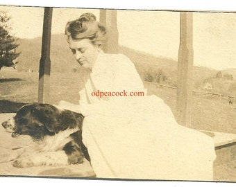 Beautiful Victorian girl with pet spaniel vintage dog photo antique love affection pet ownership