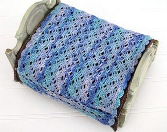 Blue miniature crochet bedspread,  1/12 scale dollhouse bedding, handcrafted miniature dollhouse blanket