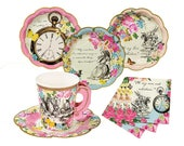 Alice in Wonderland Party Set Plates Napkins Cups Saucers | Tea Party | Mad Hatter Tea Decorations | Paper Plates Cups Pink Blue Girlie 12