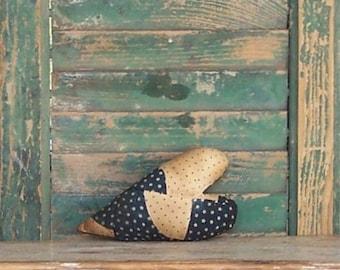 Antique Quilt Heart, Rustic Heart, Primitive Heart, Stuffed Heart, Farmhouse Decor, Americana Primitive, Blue White Stars - READY TO SHIP