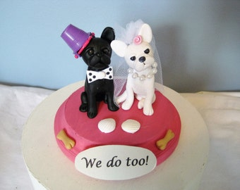 French Bulldog Wedding Cake Topper, clay, handmade, Frenchie, beach, bones, black and white, dogs, dog, whimsical