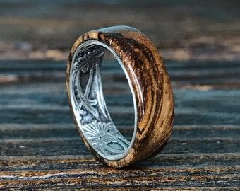 Silver Ring, Sterling Silver Ring, Wood Ring, Wooden Ring, Wedding Ring, Zebrawood Ring, Mens Ring, Womens Ring, Mens Wedding Ring, Handmade