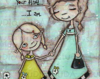 Print of my Original Mother's Day Mixed Media Painting - Holding Hands - 8 x 10 print