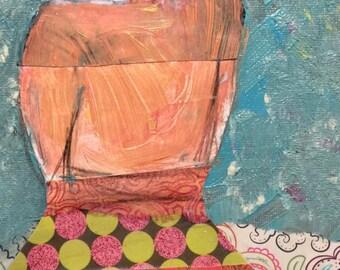 painting colorful skirt vintage girl original mixed media