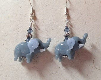 Gray Elephant Glass Bead Earrings  on Silver  Swarovski Accent   Nuts, you have to have them