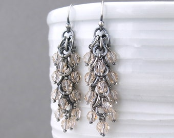 Crystal Beaded Earrings Silver Drop Earrings Crystal Earrings Silver Jewelry Neutral Earrings Beaded Jewelry Crystal Jewelry - Shaggy Loops