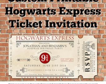 Custom Printable Hogwarts Express Ticket Invitation