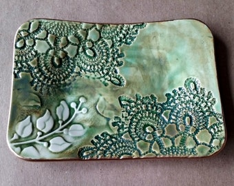 Ceramic Trinket Dish Moss green lace with vine edged in Gold
