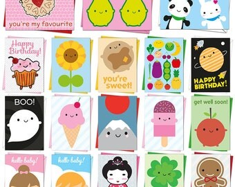 Pick Any TWO Kawaii Cards - Birthday, Greetings, Congratulations, Good Luck, New Baby, Christmas, Halloween